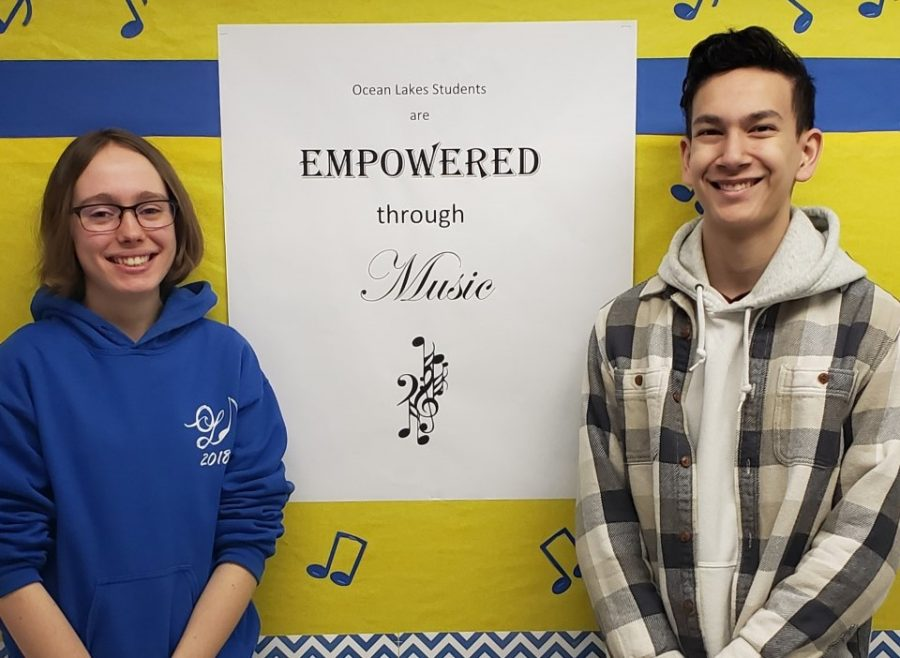 Sophomore Rachel Owen, clarinet, and junior Andrew Hammock, viola, smile after earning their spots in the All State Concert Band and All State Symphony Orchestra respectively.