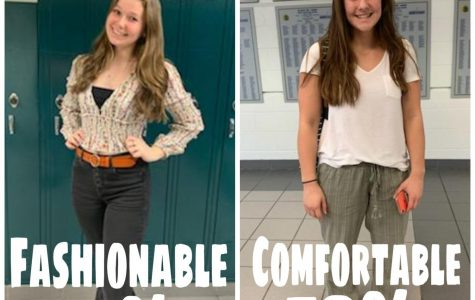 Recent Instagram poll @theolhscurrent reveals that the majority of students prefer to wear comfortable attire, demonstrated by Paige Rooks (right), rather than fashionable, demonstrated by Alexia Vigneault (left).