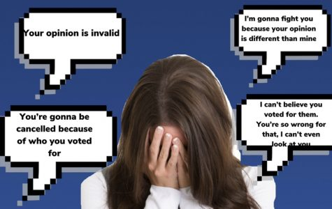 An image edit here highlights what harassment can be like. Shown are examples of what people often say when a person is belittled by a differing opinion.