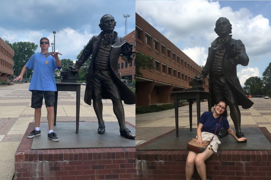 After+taking+a+tour+of+GMU%2C+seniors+Ben+Majors+%28left%29+and+Mariko+Hart+%28right%29+pose+with+the+campus%E2%80%99+George+Mason+statue.