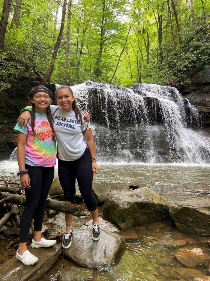 An image taken by Vincent Dahilig on May 22nd showing Alyssa Dahilig getting some exercise and fresh air by going on a hike with her family.
