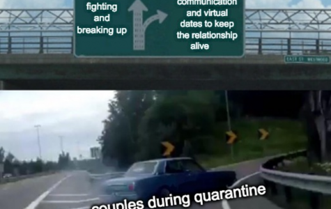 A meme depicting the development of relationships throughout the COVID-19 pandemic.