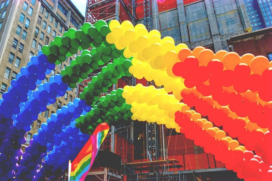 Rainbow+made+out+of+balloons+to+show+pride+for+June.+
