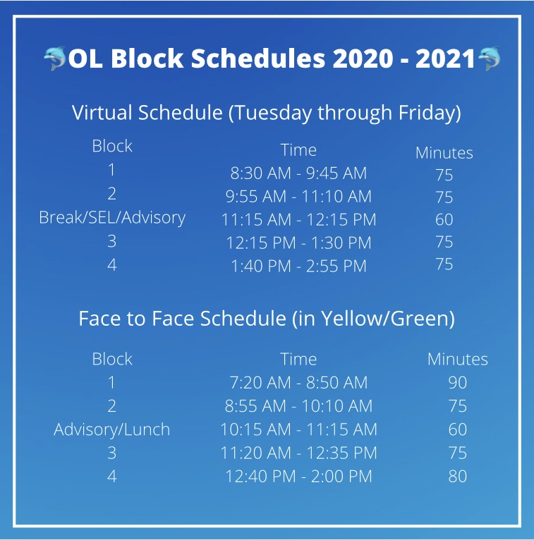 Ocean Lakes block schedule for the 2020-2021 school year