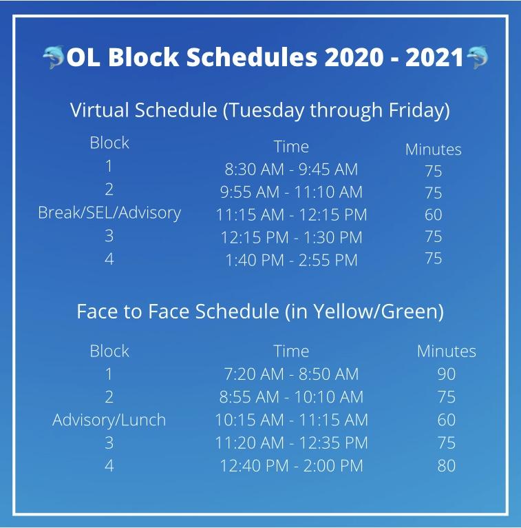 Ocean Lakes block schedule for the 2020-2021 school year