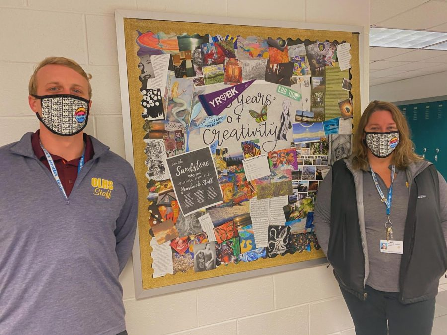 Ocean Lakes teachers Ashley. Adams and Morgan Latimer show some dolphin spirit on Friday and show off their