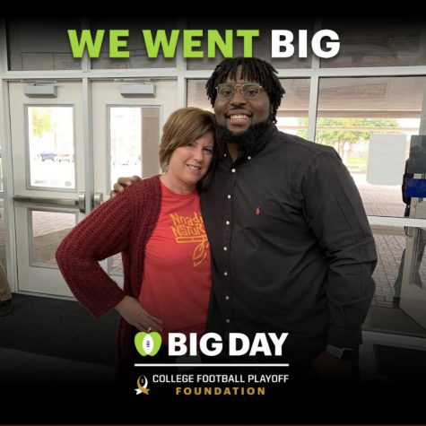 Photo that was taken from Derrick Nnadi's Twitter shows Mrs. Seacrist and Derrick Nnadi posing in the main foyer at Ocean Lakes.