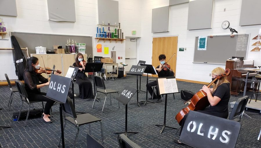 Hanna Wu, Amanda Suh, Andrew Hammock, and Rachel Monsor perform a Beethoven String Quartet at Ocean Lakes as part of their submission video for the VMEA Virtual Conference.
