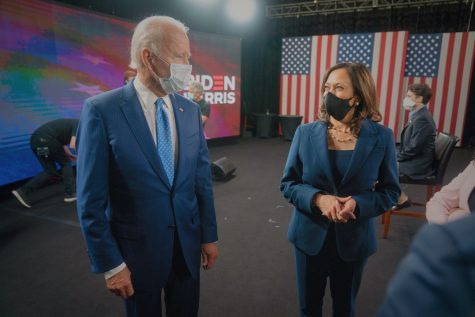 Joe Biden and Kamala Harris, future president and vice-president of the United States face one another during this year