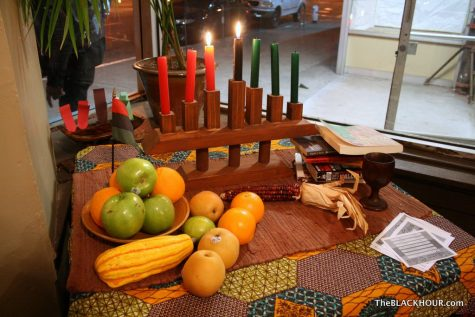 Kwanzaa alter set up for celebration of the holiday on Dec. 27, 2011.