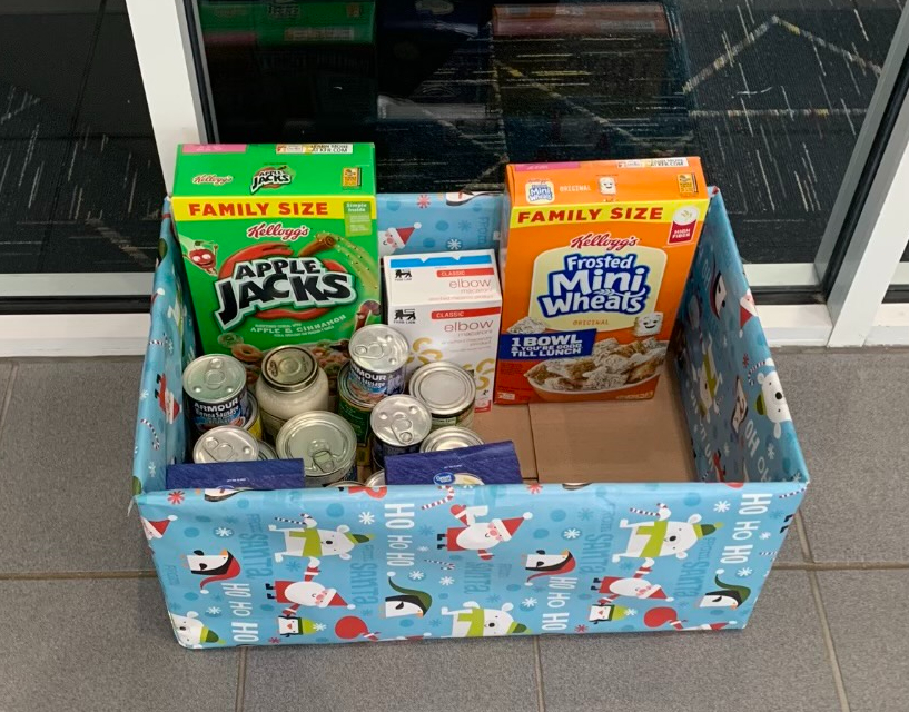 Donated food for the Black Student Union's food drive on Dec. 1. in front of the library entrance.