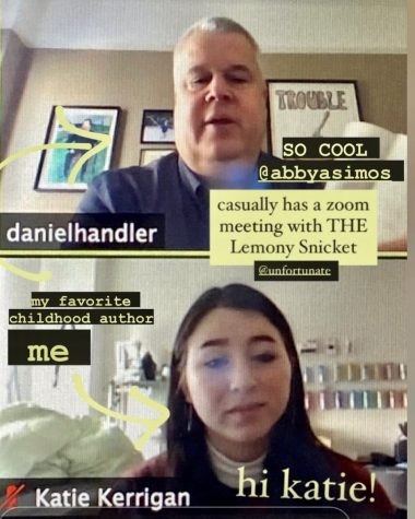 Former Ocean Lakes High School student, Katie Kerrigan meets with novelist Daniel Handler, also known as Lemony Snicket at a Virginia Commonwealth University virtual conference on Nov. 24.