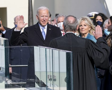 President-elect Joseph R. Biden Jr. takes the presidential oath of office at the U.S. Capitol, Wash., D.C., Jan. 20, 2021.