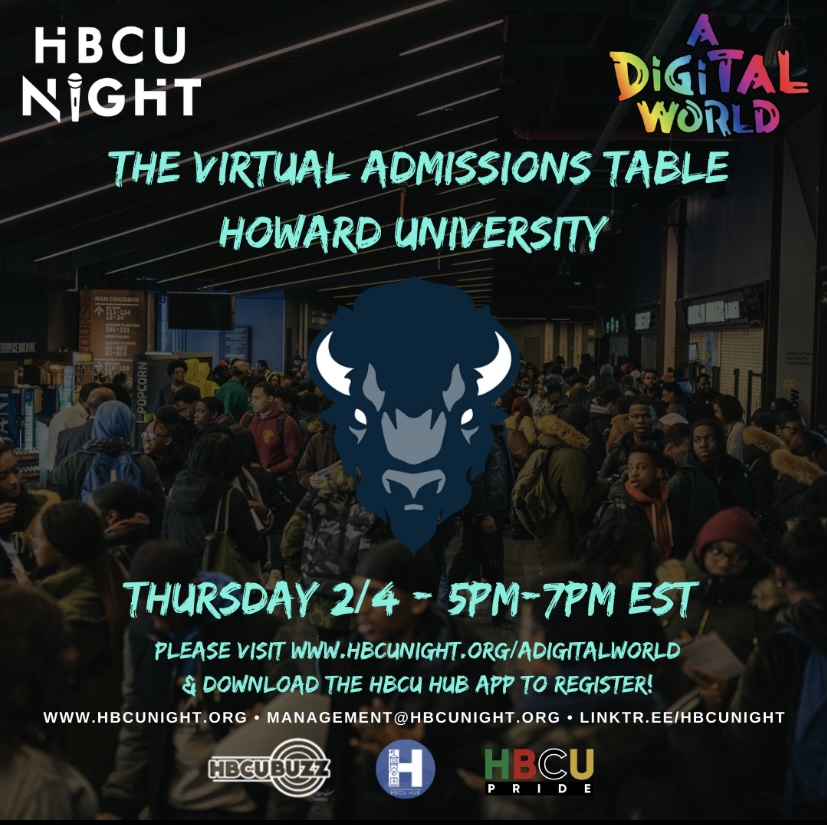 Flyer for A Digital World's HBCU night virtual admissions table with Howard University that will highlight the university's admission's office and the current students on Feb.4.