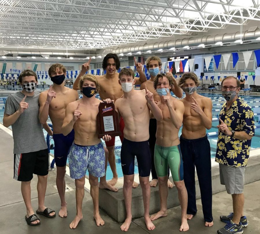 The+boys+state+championship+team+moments+after+winning+the+VHSL+6A+state+championship+at+Rouse+center+in+Stafford%2C+Virginia.