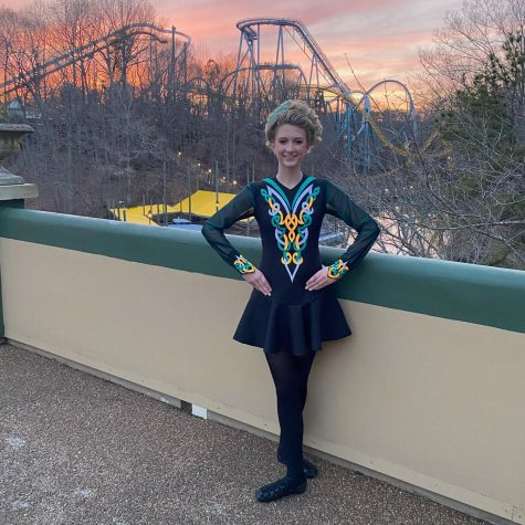 Freshman Alyssa Libasci prepares for her Irish dance performance at Busch Gardens