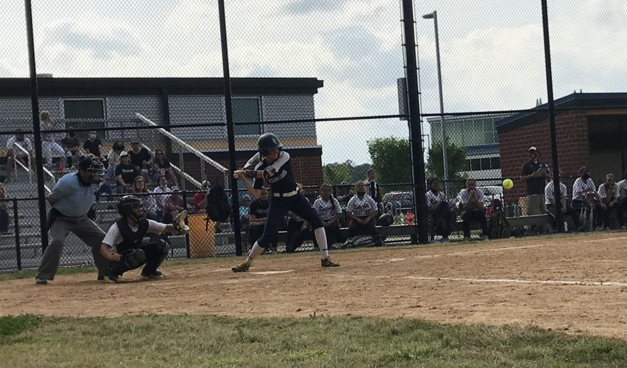 Ashley Bush tees off a triple in the top of the fourth inning at Kellam on April 29.