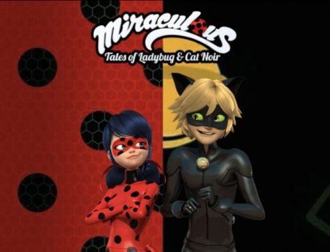 Poster created by Kylee McLaughlin displays the show title and the two main characters, Ladybug (left) and Cat Noir (right).