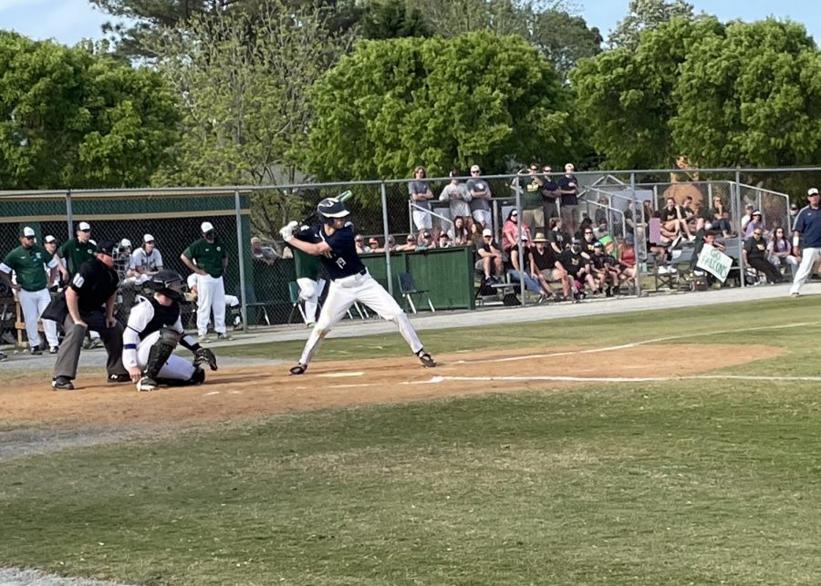 Nate Chown steps up to bat in the top of the fifth inning at Cox High School on April 27.