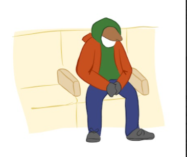 Doodle of a homeless person resting on a divided bench drawn by Alexia Fenner.