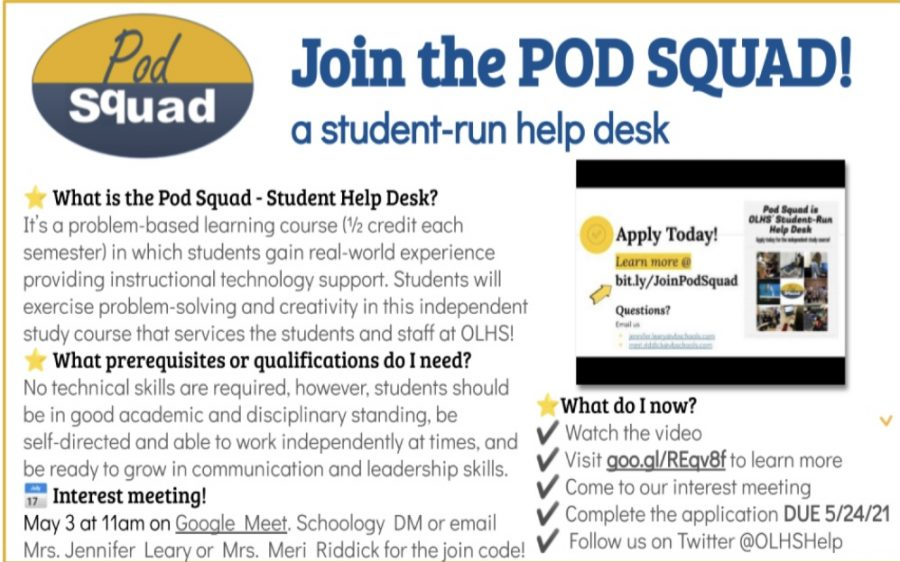 On April 22, IT support sent out a flyer to advertise next year's Pod  Squad course.
