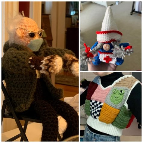 Featured here are a collection of creations crocheted by Reid Rasmussen: a Bernie Sanders doll, a gnome doll, and a patchwork sweater vest.