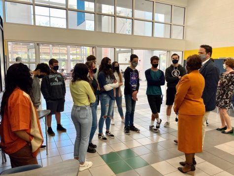 During advisory, journalism class listens to Dr. Aaron Spence, School Board member Sharon Felton, and other school officials to discuss future plans for the upcoming school year.