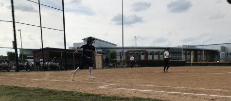 Senior Hannah Jones sprints to first base following a hit against Kellam on April 29.