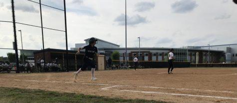 Senior Hannah Jones sprints to first base following a hit against Kellam on April 29.