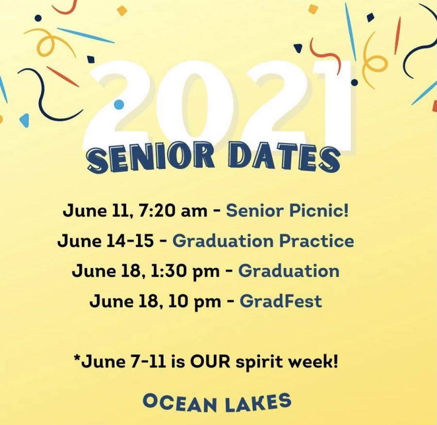 Infographic displaying upcoming 2021 graduation events.