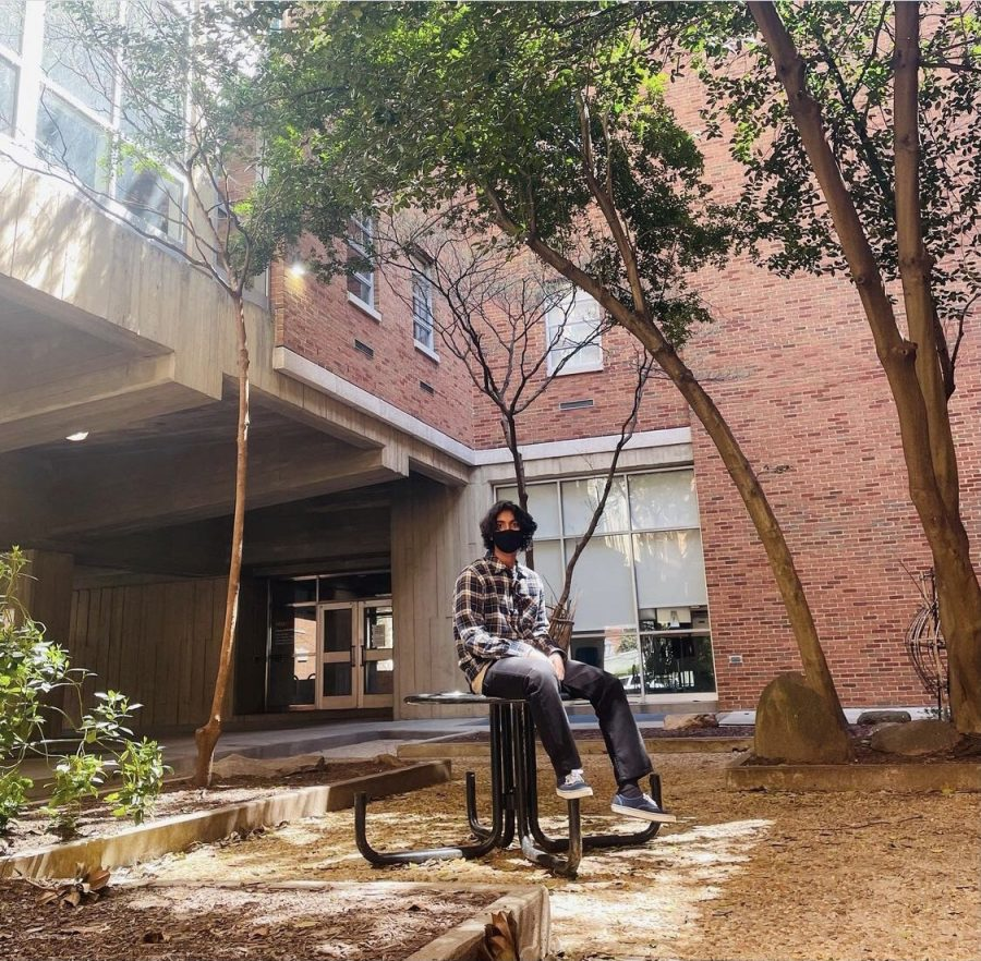 Shashank Sinha visits VCU's campus on April 3, 2021. Shashank decided to attend VCU next fall.