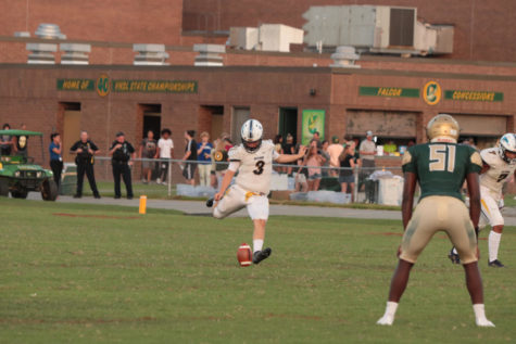 Kicker, Leo Low, starts off the first game of the season with a field goal on Aug. 27, at Cox High School in Virginia Beach, V.A.