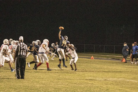 Jaeden Irwin-Harris  No. 77 catches the ball one-handed Fri., Sept. 17 at Ocean Lakes High School.