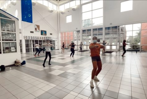 The dance team kicks off the school year by beginning after-school practices.