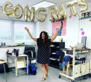 English teacher, Tasha Hurst, spends her last day celebrating with students and staff in her classroom 135 on Oct. 14.
