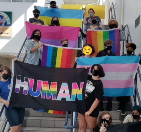 Members of SAGA club showcase pride flags during second meeting of the year on Oct. 5