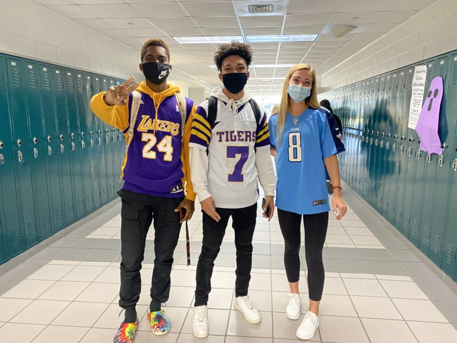Homecoming spirit week started with Jersey Day Monday. Featured here is Marcell Whitfield, a senior, surrounded by Caleb Johnson and Ellie Kuzniewski.